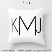 "Monogram Personalized Custom ""Zilla"" Pillow Cover 16"" x 16"" Initials Unique Gift for Her Him Couch Bedroom Room White Black Ombre"