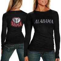 Alabama Crimson Tide Ladies Finish Line Long Sleeve T-Shirt - Black