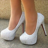 Rhinestone Heels Prom Wedding Shoes Crystal Platforms Silver Glitter Rhinestone Bridal Shoes