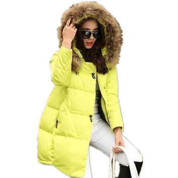 New Coats & Jackets Hooded Winter Jacket Women Fur Collar Winter Coat Women Zipper Parkas Female Winter Outwear Plus Size S-5XL