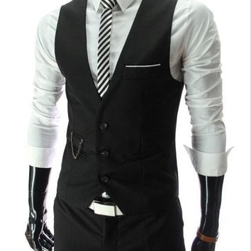 dress vests for men slim fitMens suit vest male waistcoat gilet homme casual sleeveless formal business jacket