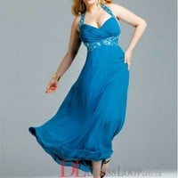 2014 New Styles Empire Halter Chiffon Blue Plus Size Prom Dress/Evening Gowns With Beading VTAU038312