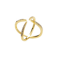 Fifth City Women's Open X Cocktail Ring - Gold -
