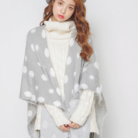 Gray Polka Dot Print Fringed Cape Scarf