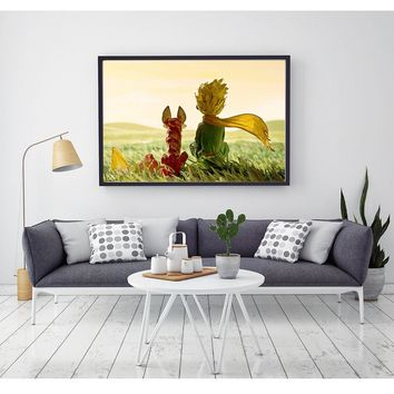 Popular hot sale colorful Little prince and fox wall art canvas wall print poster for bedroom living room decor NO FRAME