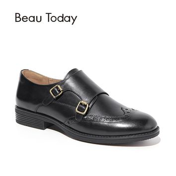 BeauToday Monk Shoes Women Wingtip Top Quality Genuine Calf Leather Buckle Strap Round Toe Brand Flats Handmade 21097