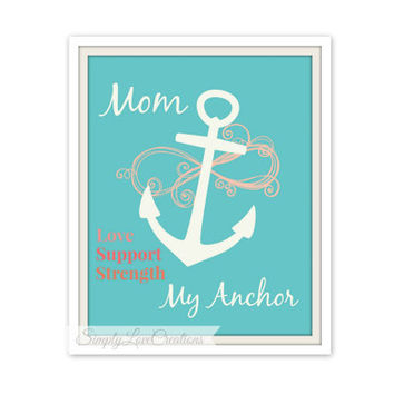Mothers Print // Mother's Day Gift // Mom Achor Print // Home Decor // Birthday Gift // Speical Someone // Infinity Symbol 8x10 Print