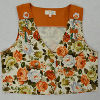 70s Floral Vest XS Boho Hippie Girly Rose Cropped Sleeveless Tank Vintage Clothing Youth Women Tapestry Groovy Garden