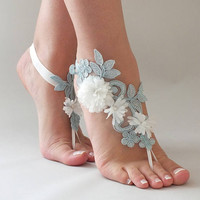 Blue Lace Barefoot Sandals  3D ivory Flowers Sandals Beach wedding Barefoot Sandals,Footless sandles Bridal Lace Shoes, Bridesmaid Sandals