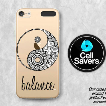 Yin Yang Clear iPod 5 Case iPod 6 Case iPod 5th Generation iPod 6th Generation Rubber Case Gen Clear Case Henna Balance Peace Sign Ying Yang
