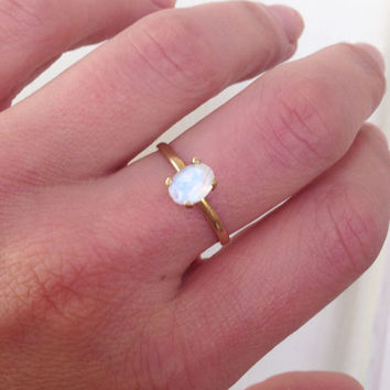 20% off- SALE!! Moonstone Ring - Oval Rainbow Ring - Gemstone Ring - Bridal Jewelry - Gold Ring - Stacking Band