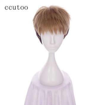 Cool Attack on Titan ccutoo 30cm  Jean Kirstein no  Cosplay Wig Brown Ombre Short Synthetic Hair Heat Resistance Fiber AT_90_11