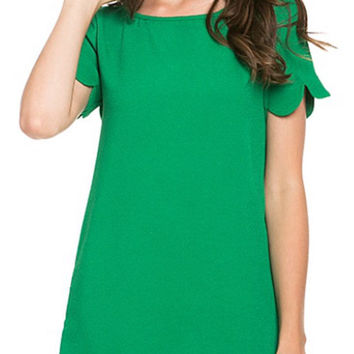 Scalloped Hem Shift Dress - Green