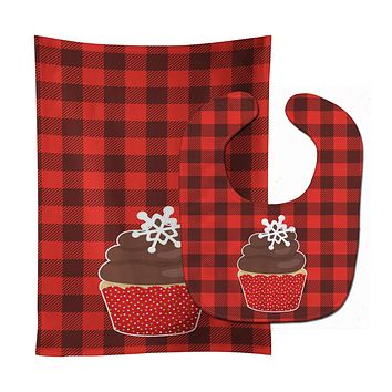 Christmas Cupcake Baby Bib & Burp Cloth BB6817STBU