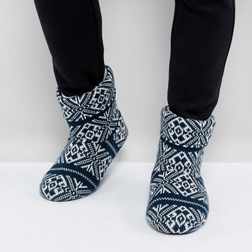 ASOS Slipper Boots in Navy Christmas Fairisle at asos.com
