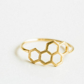 hexagon royal jelly ring,Ring,cute ring,gold honeycomb ring,couple ring,cool rings,unique rings,bridesmaid gift,rings,womens ring,,USADR38