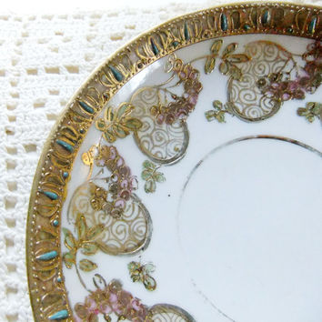 Antique Japanese Tea Saucers 1930s Hallmarked Moriage Golden Apples Hand Painted Porcelain Plates