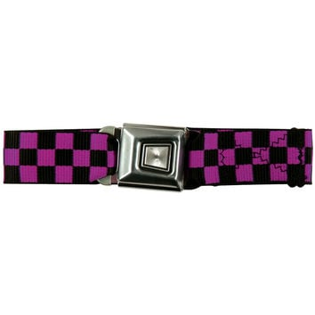 Ford Burst Seatbelt - Checkered Pink Web Belt