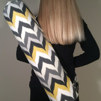 Handmade Yoga Bag for Mat, Yoga Tote, Yoga Carrier, Mat Bag - Chevron,Grey, yellow, black with Shoulder Strap and Drawstring