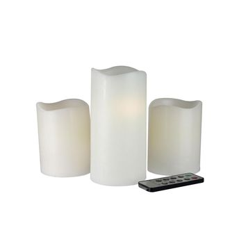 Set of 3 Ivory Flameless LED Lighted Flickering Wax Christmas Pillar Candles with Remote