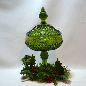 "Candy Dish Green Glass Covered  - Indiana Glass Diamond Point  - Tall 12"" Pedestal Style - Retro Mod Holiday Ready!"