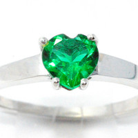 1 Carat Emerald Heart Ring .925 Sterling Silver Rhodium Finish White Gold Quality