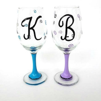 Personalized initial monogram hand painted wine glass