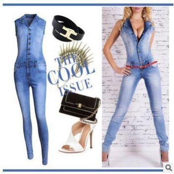 PEAPGC3 women catsuit Jumpsuits jeans Pants long pants Ladies sexy jeans long sexy sleeveless deep V collar blue slim style.JN52