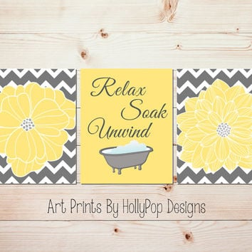 Yellow Gray Bathroom Wall Decor Relax Soak Unwind Modern Chevron Floral Burst Flower Pictures Dahlia Wall Art Bathtub print Spa Decor #1063