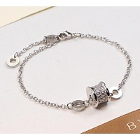 BVLGARI men and women couple models fashion wild spring round brand non-fading bracelet F-HLYS-SP Silver