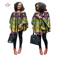 BRW 2017 Summer  African women tops rich print wax tops loose style upper outer garment africaine bazin femme clothing WY1355
