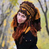 Crochet Indian Hat Imitation authentic Feather Headdress Native American Chief hat Handmade Warbonnet Knit shaman roach Winter yarn beanie