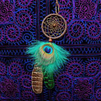 Dreamcatcher, Car Dream catcher, Car Mirror Hanger, Rear View Mirror Dream Catcher, Car Mirror Charm, Car Decor, Peacock feathers