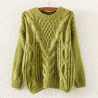 Green Knit Pullover Sweater