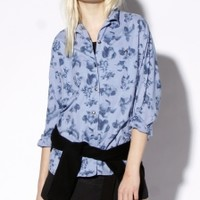Vintage 90s Chambray Denim Floral Button Up Blouse | Thrifted & Modern