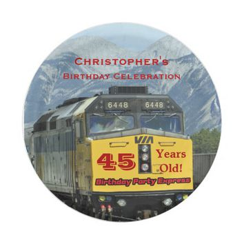 Railroad Train Paper Plates, 45th Birthday, Custom Paper Plate