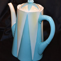 Shelley Dainty Coffee Pot, Pattern No 11770, Blue, White, And Yellow
