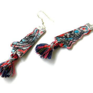 Leather earrings leather jewelry tribal ethnic irregular women fashion blue turquoise red cotton fringe exotic unique mexican earrings