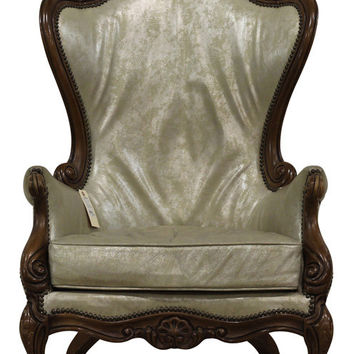 Opalescent Leather Wing Back Chair