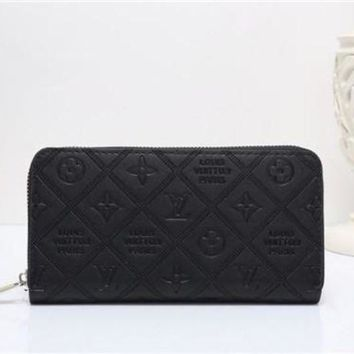DCCK Louis Vuitton' Solid Color Simple Fashion Letter Embossed Long Section Zip Wallet Clutch Unisex Purse