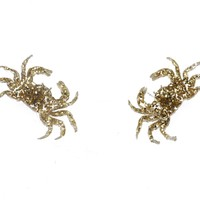 Crab Earrings in Glitter Gold