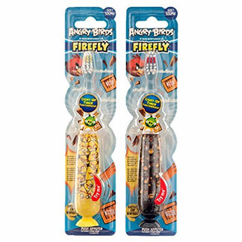 Angry Birds Firefly Light Up Toothbrush with Suction Cup - Soft - 6 Pack Assorted Design