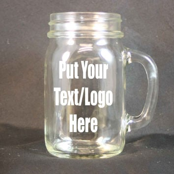 Personalized 16 Ounce Glass Mug, Custom Etching, Personalized Sand Etching, Personalized Glass, Drinking Glass