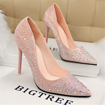 Classic Sequined Cloth Shallow Women Pumps 2017 New Women's Fashion Crystal Pointed toe High Heels 10cm Shoes Sexy Wedding Shoes