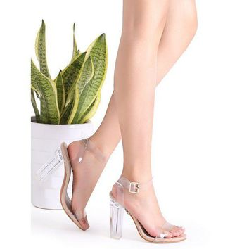 DCCK8JO Clear Ankle Strap Peep Toe Heeled Sandals