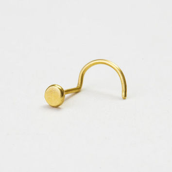 Nose Ring Stud, Nose Stud, Nostril Pin, Nose Jewelry, Ear Piercing, Tragus, Helix, Cartilage Earring, Conch, Solid Gold 2.5mm Hammered Disc