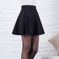 2016 Sexy Women Skirt Fashion Fall Winter Skirts Plus Size XL High Waist Pleated Skirt Black Red Skater Skirt For Women