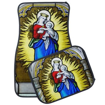 Madonna & Child Stained Glass 1 Car Mat