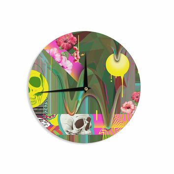 """Roberlan """"Almost Everything Collage"""" Green Yellow Abstract Vintage Wall Clock"""