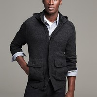 Banana Republic Mens Heritage Hooded Sweater Jacket Size XL Tall - Dark charcoal heather